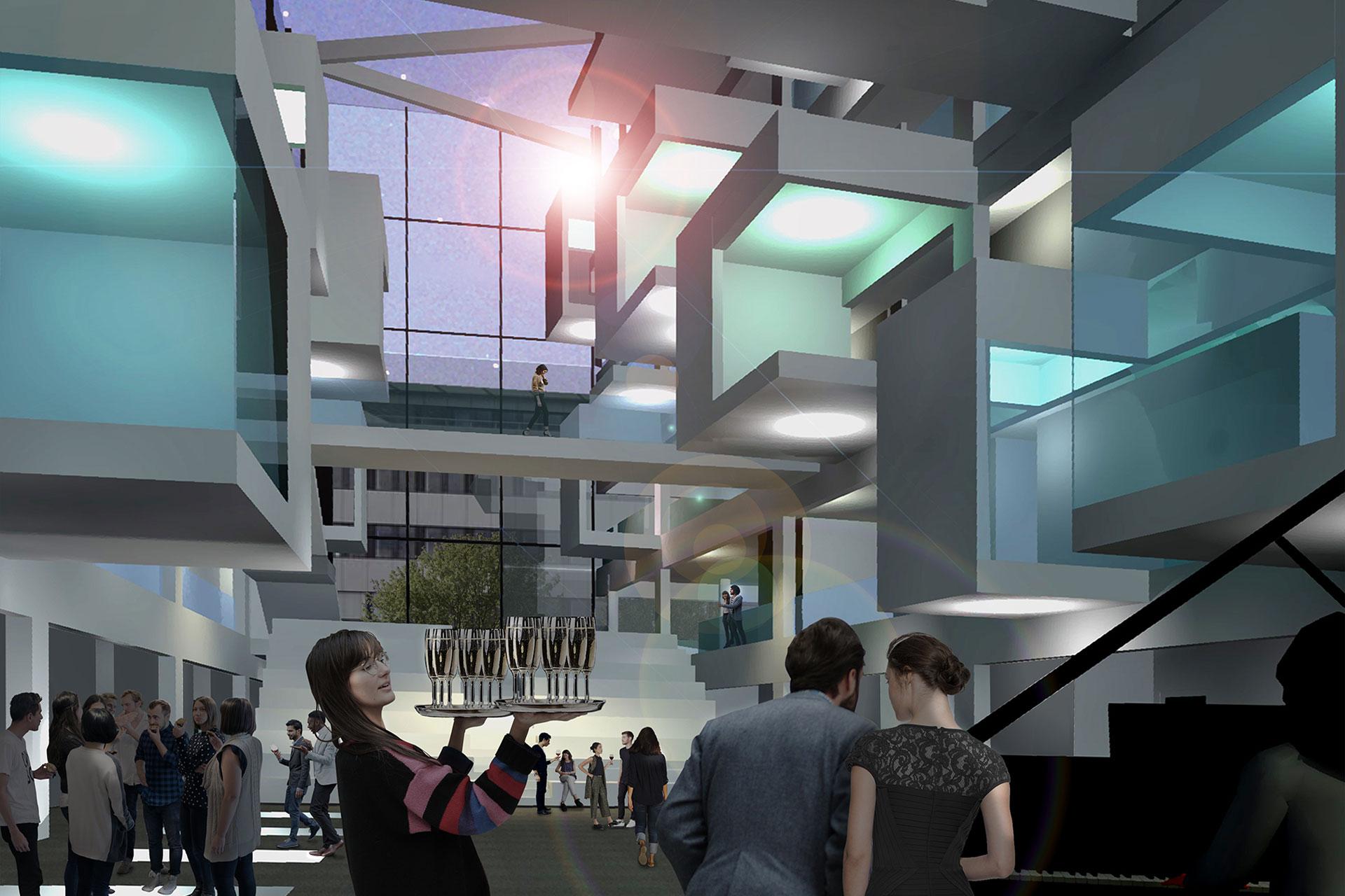 """Projekt """"WB Kompetenzzentrum""""   Atrium bei Nacht"""