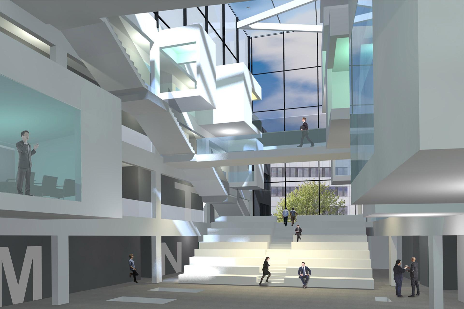 "Projekt ""WB Kompetenzzentrum"" | Atrium bei Tag"