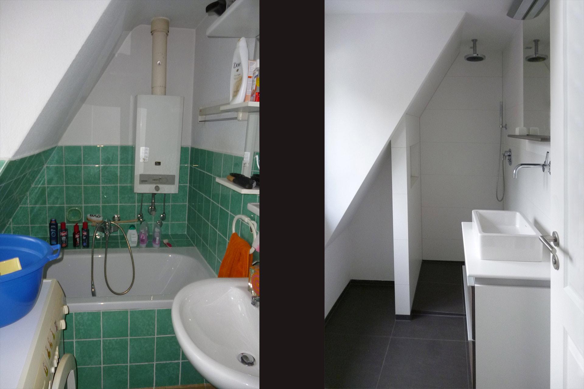 """Strobel Architekten   Projekt """"Haus ASH01"""" Duschbad: vorher-nachher"""