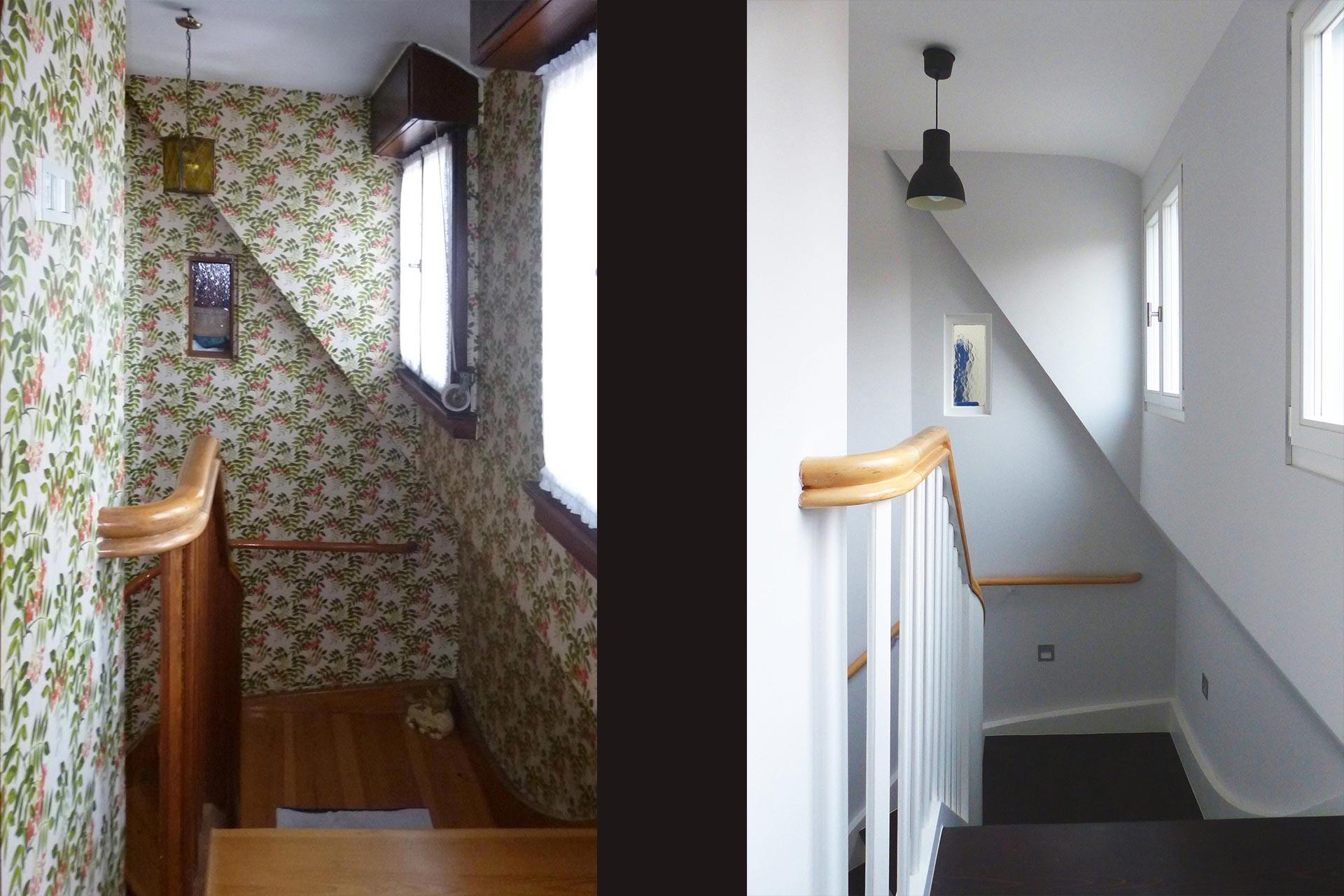 """Strobel Architekten   Projekt """"Haus ASH01"""" Treppenhaus: vorher-nachher"""